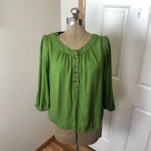 Anthropologie Maeve Green Long Sleeve Blouse Top